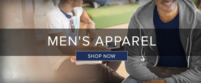 Picture of students sitting. Men's Apparel. Click to shop now.